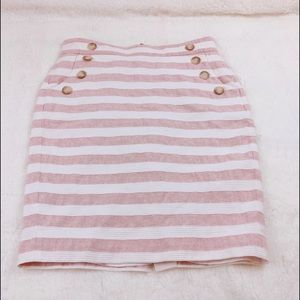 Loft Pink and White Stripes Pencil Skirt